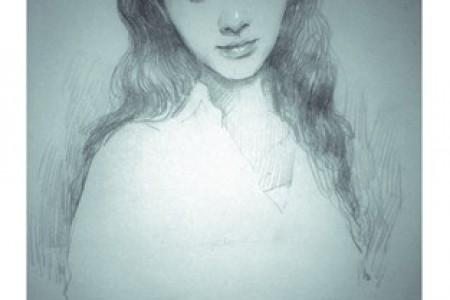 小女孩画了她的头。