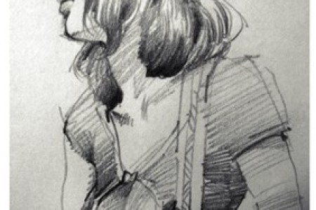 画一幅戴帽子的漂亮女人的画像