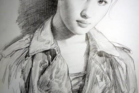 刘亦菲的彩铅素描