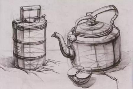 结构草图吹口哨来煮水壶、水桶和半个苹果。