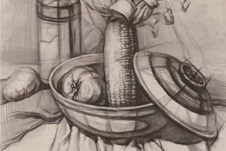 素描玫瑰花瓶盘子水果