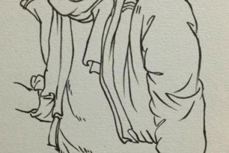 画一个关于如何画衣服、裤子和裤子褶的教程。