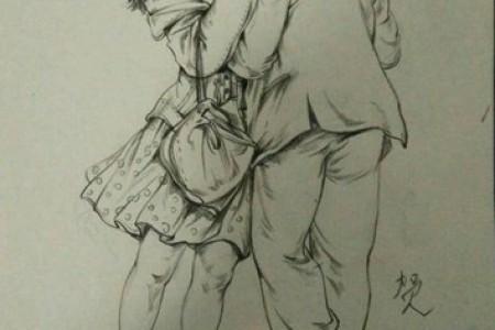 一对接吻夫妇的素描