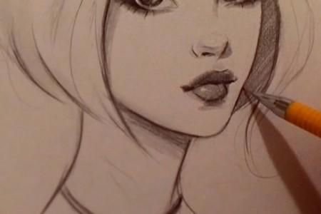 非常可爱的女孩漂亮的嘴唇手绘铅笔素描