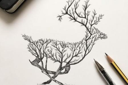 鹿与树木森林的结合