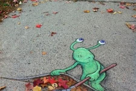 粉笔画:大卫·津恩,路边的3D立体画