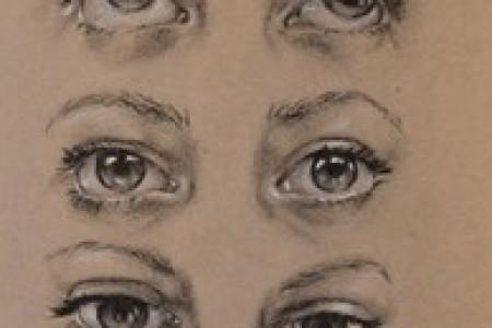 眼睛向上、向下、抬头和闭上的动作示意图。