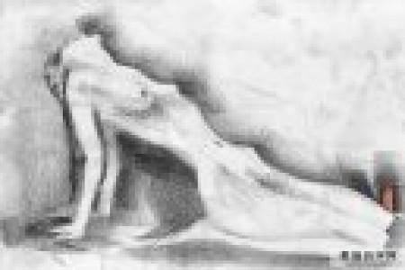 抽象女性身体素描的简约风格