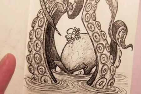 章鱼草图章鱼创意手绘草图