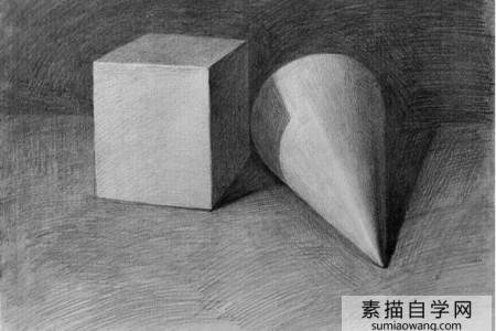 立方体和圆锥石膏几何图形草图