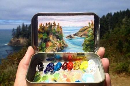 路上绘画,审美写实山水画