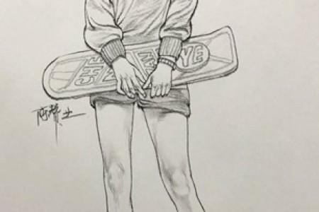 素描人:长发滑板女孩