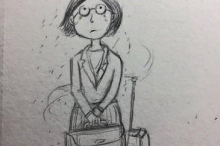 卡通小品:雨天旅行的人