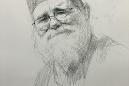 戴眼镜留着长胡子的老人用阶梯图画了头像。