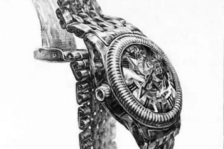 手表和手表的草图细致而完整。
