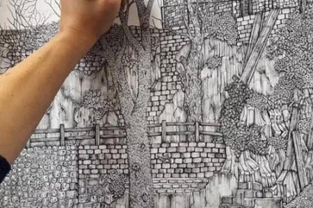 城市建筑大型绘画奥莉维亚·坎普的超细针笔素描