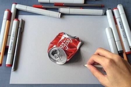 可口可乐罐3d立体图逼真彩色铅手绘