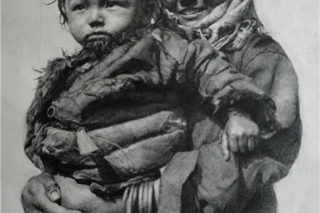 """母亲抱着孩子的素描叫做""""希望"""""""