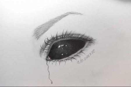 黑色眼睛流血眼睛创意素描