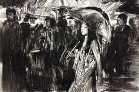 雨巷里拿着伞的女孩勾勒了四川美术学院的试题。