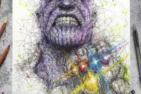 卡通人物灭霸圆珠笔素描手绘视频图片