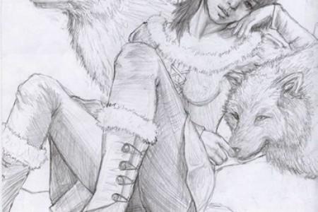 女孩和狼的素描。
