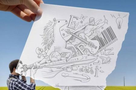 素描和真人动物风景的结合导致了大脑袋创意素描的诞生!