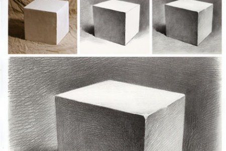 草图初学者副本:立方体阴影步骤图片