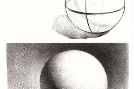 球体照片与草图相比较,新手复制照片。