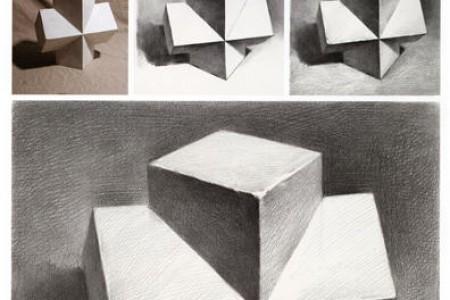 长方体互穿体素描临摹步骤的绘制过程
