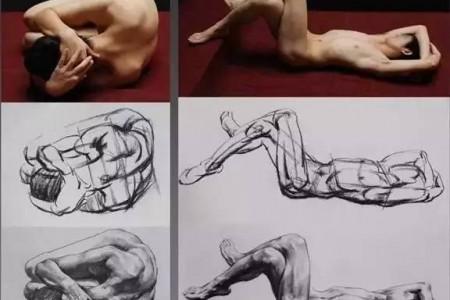 人体素描:人体动态照片结构的素描复制品