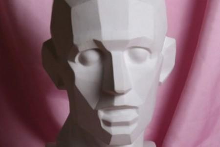 切割的石膏头从9个角度显示图片。