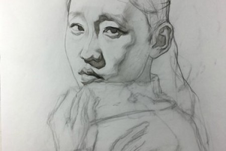 刘斌素描:穿毛衣女孩超现实素描步骤教程图