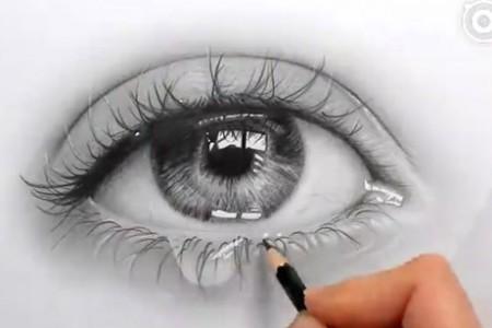 看到素描大师如何画含泪的眼睛真是太美了!