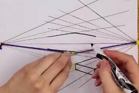 超简单两点透视图手绘建筑图视频教程