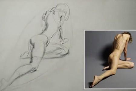 外国人教你画一幅女人的人体素描。查看绘图方法非常实用。