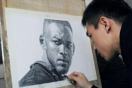 明星威尔史密斯的素描头像——李成艺术