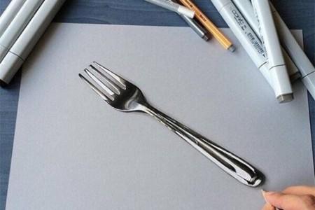 刀叉餐具超逼真3D立体绘画