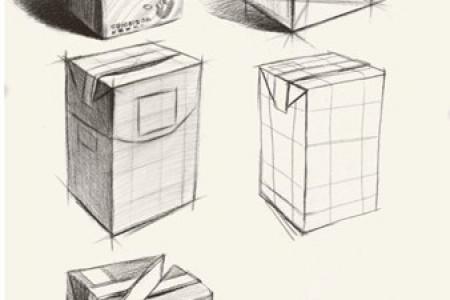 纸盒牛奶草图绘制步骤