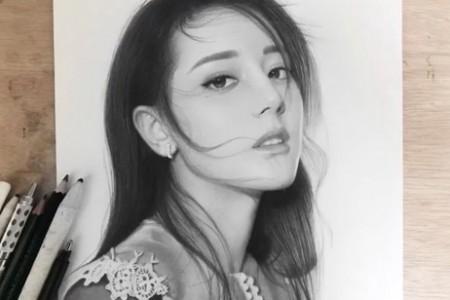 迪丽热巴素描超级美丽女神绘画视频教程