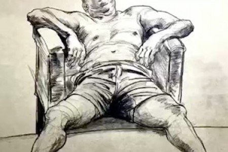 崔恒正在教你画一个人物,一个躺着的中年男人的素描。