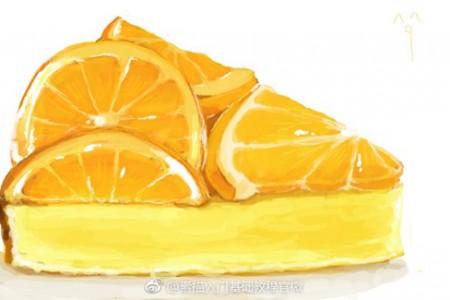 美丽水果蛋糕逼真彩色铅画橙色草莓樱桃彩色铅画