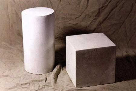 圆柱体与立方体组合素描过程中的步骤图