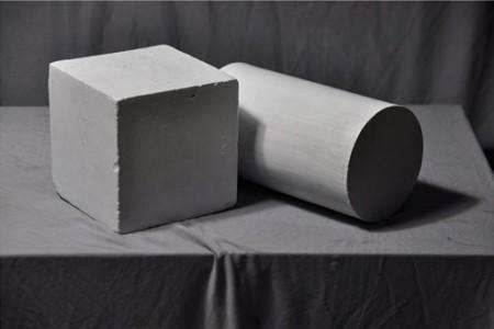 立方体圆柱体组合石膏几何体的超高清照片