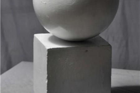 结合石膏几何的球形立方体超高清照片