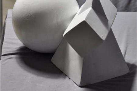 球形四边形圆锥穿透组合静物,石膏几何高清晰度背光图片