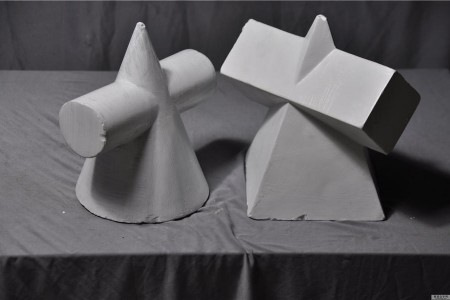 圆锥贯入体和四菱形贯入体结合的石膏几何高清晰照片