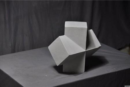 石膏几何:长方体互穿体的超高清图片