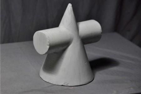 石膏几何体:圆锥圆柱体组件的超高清图片