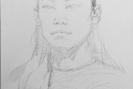 画石峰年轻女子头像的详细步骤